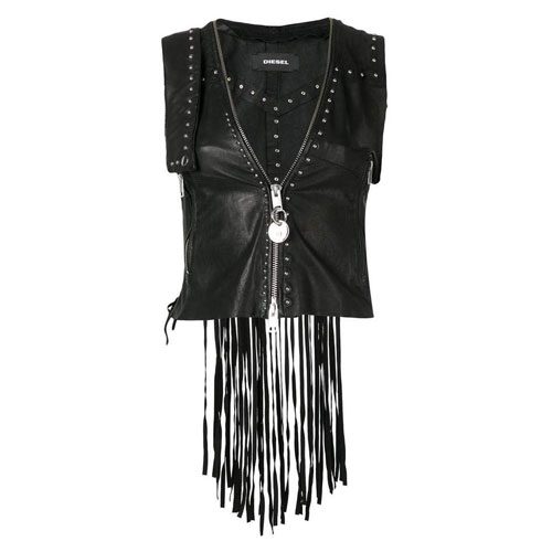 Diesel Fringed Leather Vest
