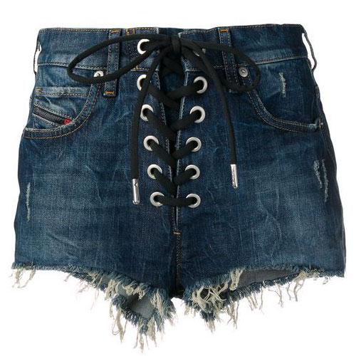 "Diesel Denim Shorts ""Lace-Up"""