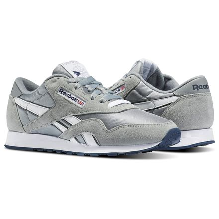 Reebok Classic Nylon Men's Casual Shoes in Platinum / Blue