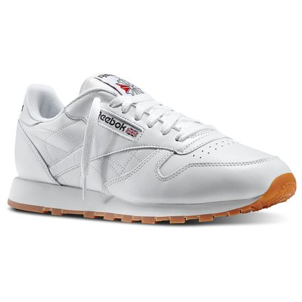 Reebok Classic Leather Men's Retro Running Shoes in White / Gum
