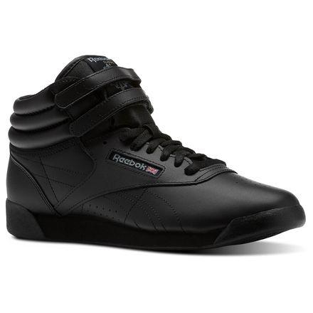 Reebok Freestyle Hi Grade School Kids Fitness Shoes in Black / Grey