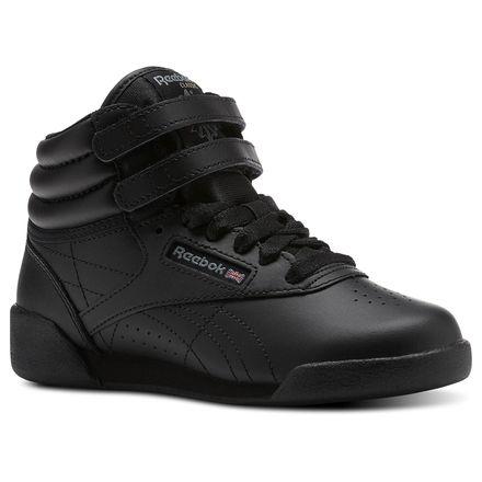 Reebok Freestyle Hi - Pre-School Kids Fitness Shoes in Black / Grey