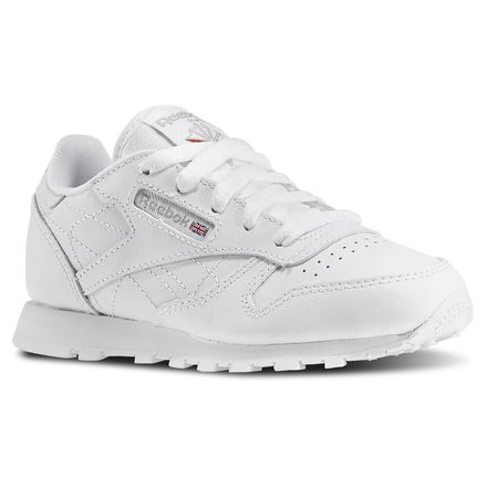 Reebok Classic Leather Pre-School Kids Retro Running Shoes in White