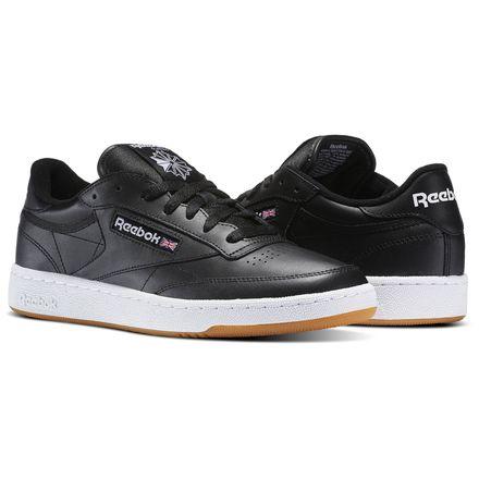 Reebok Club C 85 Men's Court Shoes in Black / White / Gum