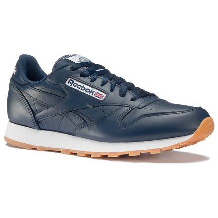 Reebok Classic Leather Gum Men's Retro Running Shoes in Collegiate Navy / White / Gum