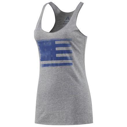 Reebok Ink Rolled Flag Women's Training Tank Top in Premium Heather