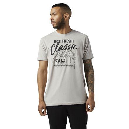 Reebok Classics Pizza Tee Men's Casual T-Shirt in Medium Heather Grey