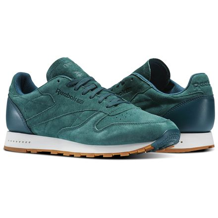 Reebok Classic Leather SG Men's Retro Running Shoes in Washed Jade / Chalk / Gum