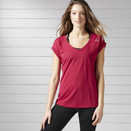 Reebok Quik Cotton Tee Women's Training T-Shirt in Manic Cherry