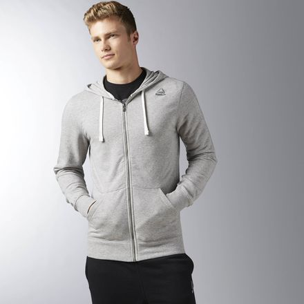 Reebok Elements French Terry Men's Training Full Zip Hoodie in Grey