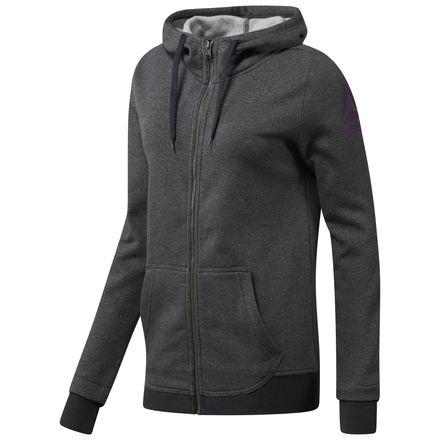 Reebok Full Zip Fleece Jacket Women's Training Hoodie in Dark Grey Heather