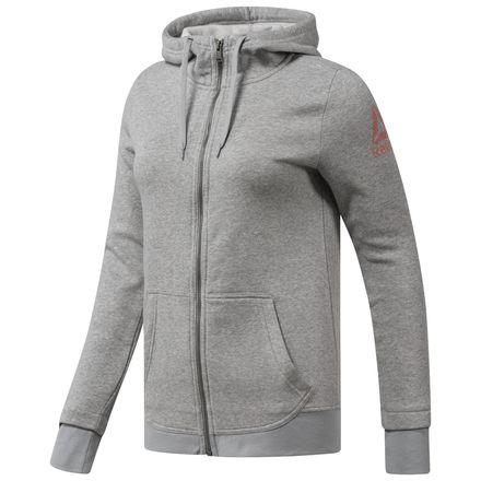 Reebok Full Zip Fleece Jacket Women's Training Hoodie in Medium Grey Heather