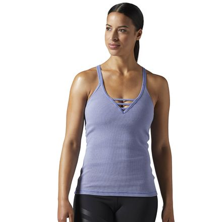 Reebok Washed Ribbed Women's Studio Tank With Built In Sports Bra in Lilac Shadow