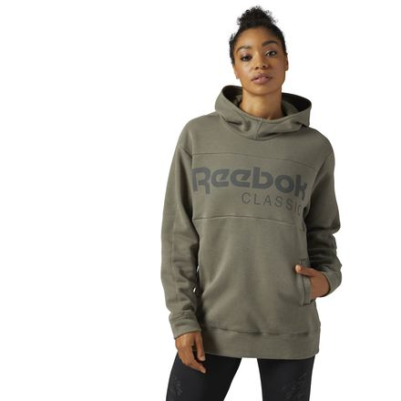 Reebok Classics Graphic Women's Casual Pullover Hoodie in Ironstone
