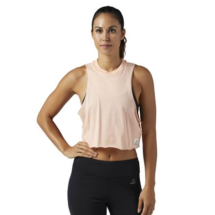 Reebok Workout Ready Women's Training Crop Tank Top in Peach Twist