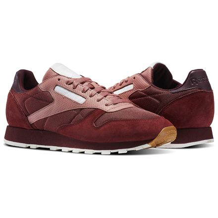 Reebok Classic Leather Speckle Midsole Pack Men's Retro Running Shoes in Rugged Maroon / Sandy Rose