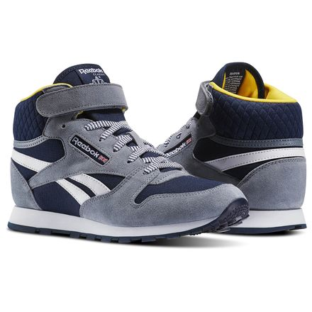 Reebok Classic Leather Mid Strap - Pre-School Retro Running Shoes in Asteroid Dust / Navy / Primal Yellow