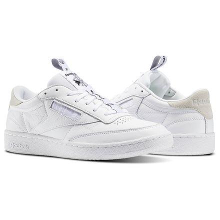 Reebok Club C 85 IT Men's Court Shoes in White / Skull Grey / Black