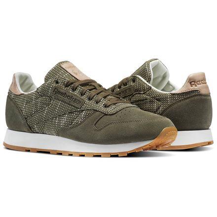 Reebok Classic Leather EBK Men's Retro Running Shoes in Army Green / Chalk / Sand Stone / Gum