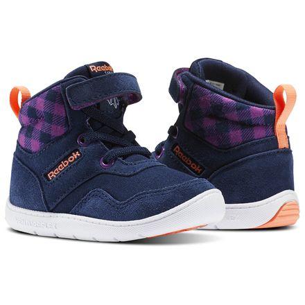 Reebok Ventureflex Sneaker Boot - Infant & Toddler Casual Shoes in Collegiate Navy / Aubergine / Guava Punch / White