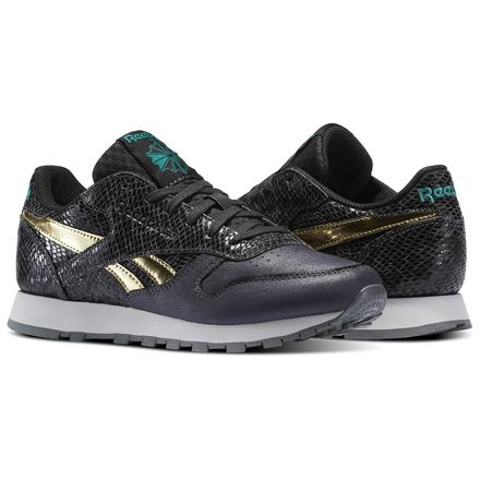 Reebok Classic Leather Scare Women's Retro Running Shoes in Baseball Grey / Coal / Emerald / Gold / Grey / Alloy