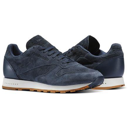 Reebok Classic Leather SG Men's Retro Running Shoes in Smoky Indigo / Chalk / Gum