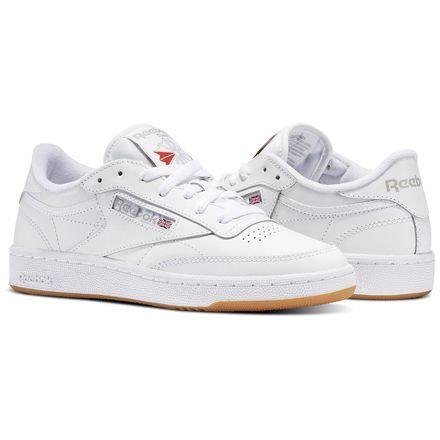 Reebok Club C 85 Women's Court Shoes in White / Light Grey / Gum