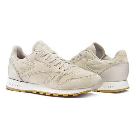 Reebok Classic Leather SG Men's Retro Running Shoes in Sand Stone / Chalk / Gum