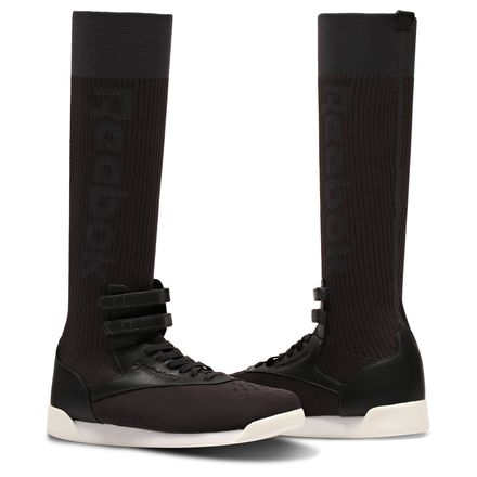 Reebok Freestyle Hi Ultraknit Women's Fitness Shoes in Black / Ash Grey / Medium Grey / Coal / Chalk