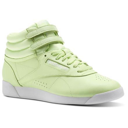 Reebok Freestyle Hi - Women's TRAINING SHOES - Lime Glow/White BS9369