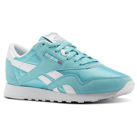 Reebok Classic Nylon Brights Women's Retro Running Shoes in Turquoise