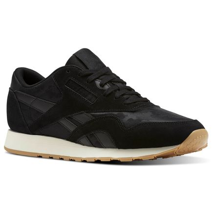 Reebok Classic Nylon SG Men's Retro Running Shoes in Black / Chalk