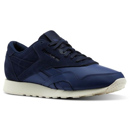 Reebok Classic Nylon AS Unisex Retro Running Shoes in Washed Blue / Collegiate Navy / Chalk