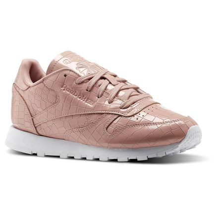Reebok Classic Leather Crackle Women's Retro Running Shoes in Chalk Pink / White