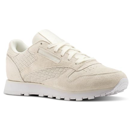 Reebok Classic Leather Woven EMB Women's Retro Running Shoes in Chalk