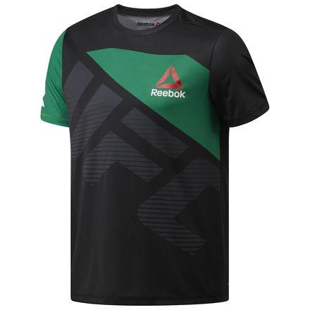 Reebok UFC Fight Kit Conor McGregor Walkout Jersey Men's MMA T-Shirt in Black / Basil Green / Chalk