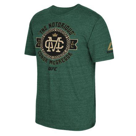 Reebok UFC Fan Notorious Celtic Badge Tee Shirt Men's MMA in Dark Green Heather