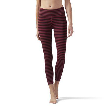 Reebok Women's Yoga, Studio Striped 7/8 Leggings in Urban Maroon / Black