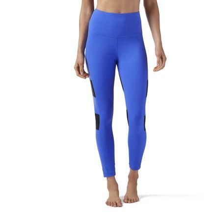 Reebok High-Waisted Women's Studio Mesh Leggings in Acid Blue
