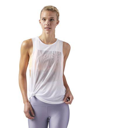 Reebok Women's Studio Moire Muscle Tank Top in White