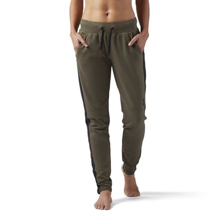 Reebok Training Supply Women's Slim Jogger Pants in Army Green