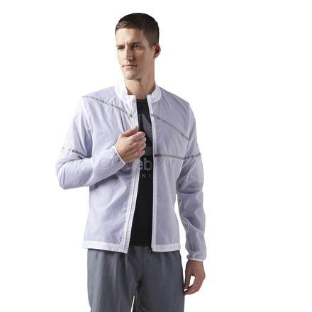 Reebok Run Hero Men's Running Reflective Jacket in White