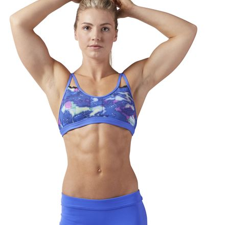 Reebok CrossFit Women's Training Graphic Strappy Sports Bra in Acid Blue