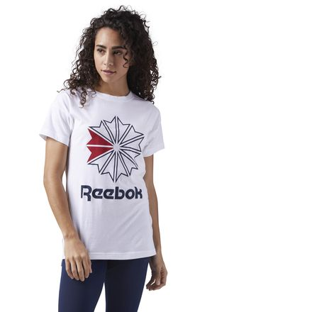 Reebok Classics Graphic Tee Women's Casual T-Shirt in White / Collegiate Navy