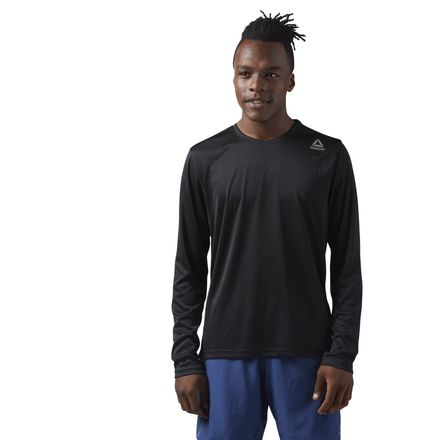 Reebok Running Long Sleeve Men's Shirt in Black / Medium Grey