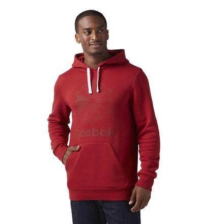 Reebok Classics Star Hoodie Men's Casual Sweatshirt in Rich Magma Red