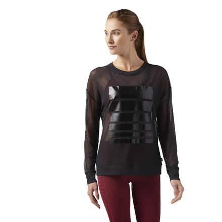 Reebok mesh long sleeve t shirt women 39 s dance studio tee for Mesh long sleeve t shirt