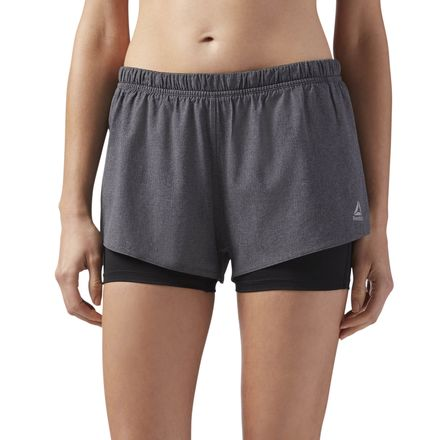 Reebok 2-in-1 Women's Running Shorts in Dark Grey