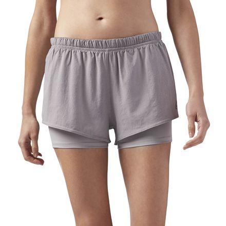 Reebok 2-in-1 Women's Running Shorts in Powder Grey