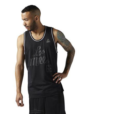 Reebok LES MILLS Mesh Basketball Tank Men's Studio Apparel in Black